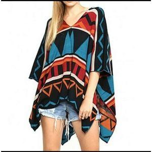 Flying tomato aztec print poncho sweater